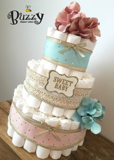 Tea for Two Vintage Lace, Gold, Blush Pink, and Teal Girl Diaper Cake Centerpiece for Baby Girl Shower by BuzzyDiaperCakes on Etsy https://www.etsy.com/listing/266085073/tea-for-two-vintage-lace-gold-blush-pink
