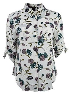 85cb68c1 Ann Taylor Womens Floral Print Sheer Button Down Blouse Top White LP Large  Petite * Continue