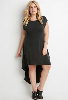 Plus Size Dropped-Hem T-Shirt Dress   Forever 21 PLUS - 2000162370