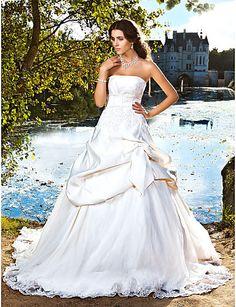 Vestito da sposa, senza maniche, con strascico da cappella, in raso del 2015 a €170.99