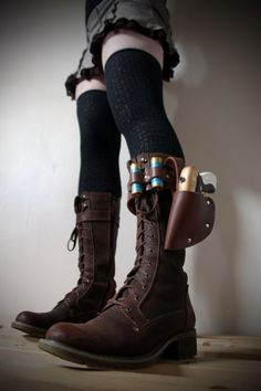 Unisex Real Leather Boot Garter with holster, hand painted water pistol, 2 containers (shotgun shells) steampunk - burning man - festivals. genius THESE are fantastic Steampunk Shoes, Steampunk Costume, Steampunk Fashion, Gothic Steampunk, Boot Holster, Holsters, Burning Man Boots, Real Leather, Leather Boots