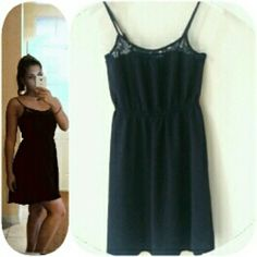 3 for $10H&M Dress Black sundress with elastic waist band and lacey like detailed neckline. Adjustable straps Size: 4 Divided by H&M Dresses