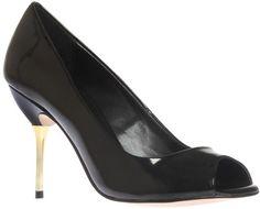Carvela Gone Metallic Heel Peep-Toe Shoes, Black Patent
