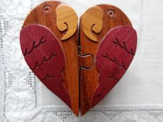 Heart Shaped Parrots Wooden Puzzle Box, Secret Box, Jewelry Box - Heart With…