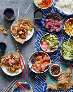 Briliant Poke Bowl dinner idea! Set up a diy Poke Bowl bar, and turn this traditional marinated raw fish salad over rice into the Hawaiian version of a DIY tacobar. So fun even for picky eaters. | What's Gaby Cooking