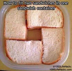 1000 Life Hacks - How to fit 2 sandwiches in one container