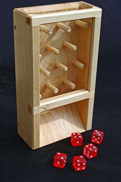 Dice Tower Plinko - game within a game! Woodworking Toys, Woodworking Projects, Small Wood Projects, Projects To Try, Dice Tower, Dice Box, Wood Games, Into The Woods, Diy Games