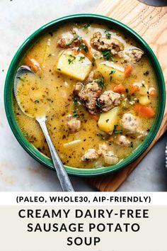 Creamy Dairy-free Sausage and Potato Soup (Whole30 AIP, Paleo) Easy Cloud Bread Recipe, Paleo Recipes, Soup Recipes, Recipes For Soups And Stews, Sausage Potato Soup, Dairy Free, Gluten Free, Quick And Easy Soup, Paleo Soup
