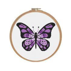 Purple Butterfly Cross Stitch Pattern, Instant PDF Digital Download Counted Cross Stitch Chart, Needlework Pattern, Embroidery Pattern