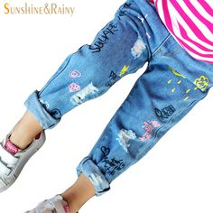 fashion jeans for girls blue Graffiti ripped jeans for kids spring autumn casual pants children denim jeans toddler baby jeans Girls Ripped Jeans, Baby Jeans, Cheap Jeans, Autumn Casual, Denim Pants, Jeans Style, Casual Pants, Graffiti, Girl Fashion