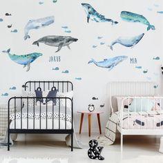 Samolepiace tapety veľrýb z textilnej fólie, ktorá je umývateľná, pevná a vhodná aj na drsnú stenu. Interior Architecture, Toddler Bed, Kids Room, Room Decorations, Interiors, Furniture, Baby, Design, Home Decor