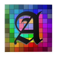 Initial Stained Glass Color Wheel Ceramic Tile. Edit the initial and the shadow. Add more initials, or delete them. So many options! Perfect for home, office and about any tile works project!