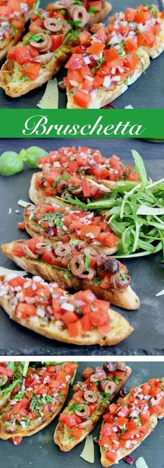 Bruschetta ist die perfekte Vorspeise für den Grillabend oder eine kleine Feier… Bruschetta is the perfect appetizer for the barbecue or a small celebration with friends. I'll show you two bruschetta recipes that are simple and delicious! Barbacoa, Healthy Appetizers, Healthy Snacks, Holiday Appetizers, Snacks Sains, Barbecue Recipes, Antipasto, Salmon Recipes, Clean Eating Snacks