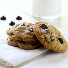 Chocolate Chip Cookies made with coconut oil & white whole-wheat flour. A new favorite!
