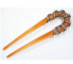 Edwardian amber and diamond hairpin
