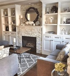 85 Best Cozy Farmhouse Living Room Lighting Lamps Decor Ideas : We had discussed possible built-ins in the family room. Fireplace Built Ins, Farmhouse Fireplace, Home Fireplace, Living Room With Fireplace, Cozy Living Rooms, Fireplace Design, Rugs In Living Room, Living Room Designs, Living Room Decor