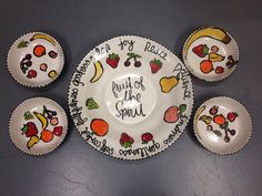 School auction idea: fruit of the spirit plate - idea from Ceramicafe in clackamas, OR