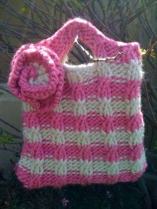 Free Knitting Pattern - Bags, Purses & Totes: Baby Cable Striped Purse