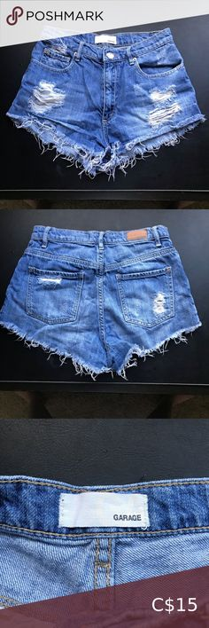 """Garage med. blue distressed high rise shorts Gently worn. They are not super stretchy.   Size comparison:  I have a 25.5"""" waist, 36.5"""" hips and 5'8"""" height. These fit me comfortable around the waist, but I find they show a bit too much bum for me now.  Say size 1, but I find they fit me similar to size 3 for their other styles.   Material:  100% cotton Garage Shorts High Waist"""