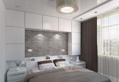 kleines schlafzimmer in Weiß, Grau und Braun - Stauraum über dem Bett