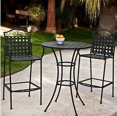 3 Piece Outdoor Bistro Set Bar Height -Black. This Traditional Patio Furniture is Stylish and Comfortable. Bistro Sets Compliment Your Patio, Deck Or Pool Area Perfectly. Patio Furniture Sets Of This Quality Last For Years.