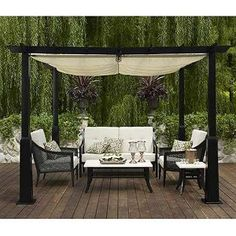 Black Rattan Chairs with Cushions and Wood Deck Flooring Shaded with White Fabric Pergola in Modern Patio Design Ideas When You Should Use Patio Furniture Covers Backyard Canopy, Garden Canopy, Canopy Outdoor, Diy Garden, Garden Awning, Outdoor Gazebos, Arbors, Canopy Bedroom, Diy Canopy