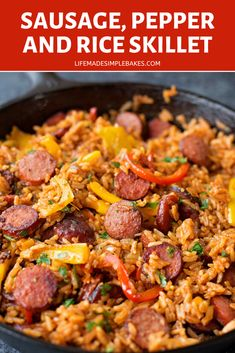Sausage, Pepper and Rice Skillet - Life Made Simple Smoky kielbasa sizzled with sweet bell pepper, onions and garlic in vibrant tomato sauce. This quick and easy sausage, pepper and rice skillet is downright delicious! Andouille Sausage Recipes, Sausage Rice, Spicy Sausage, Sausage Meals, Kielbasa Sausage, Sausage Peppers And Onions, Stuffed Peppers, Sweet Bell Peppers, Tomato Sauce