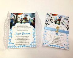 convite alice c/envelope rendado