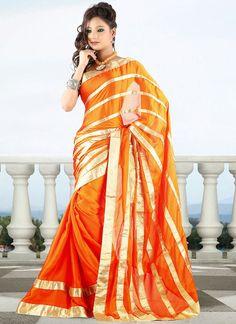 Trendy Orange Satin #Chiffon #Saree