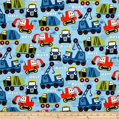 Michael Miller Little Movers Build More Nite from @fabricdotcom  Beep Beep! Move it! This construction themed cotton print collection is sure to delight your little ones with dump trucks, bulldozers, cranes, and more! Use for quilting, apparel, and home decor accents. Colors include shades of blue, shades of green, orange, white, black, yellow, and grey.