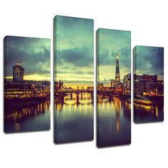 Msc452 london skyline sunrise canvas wall art multi panel #split #picture #print,  View more on the LINK: 	http://www.zeppy.io/product/gb/2/281665383492/
