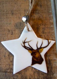 Stag Porcelain star christmas decoration by SD Ceramics. My dad would love this.