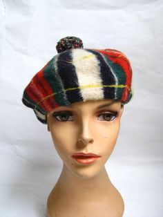 Vintage 60s Scottish Plaid Wool Beret by TimeBombVintage on Etsy, $20.00
