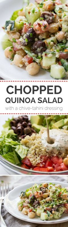 This AMAZING Chopped Quinoa Salad is made with fresh veggies, olives and chickpeas, and is tossed with a creamy Chive-Tahini Dressing | recipe on simplyquinoa.com