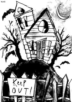 Haunted House Coloring Page, Printable Haunted House Coloring Pages