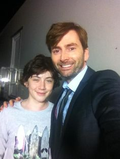 Oskar (Danny) and David (Hardy) at the end of filming of Broadchurch.
