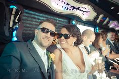 Bride and groom in a limo. www.remvp.com
