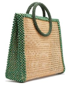 Rosantica By Michela Panero Elle wooden-bead tote bag Tote Handbags, Purses And Handbags, Leather Handbags, Beaded Purses, Beaded Bags, Elle Bag, Beach Tote Bags, Knitted Bags, Mode Outfits