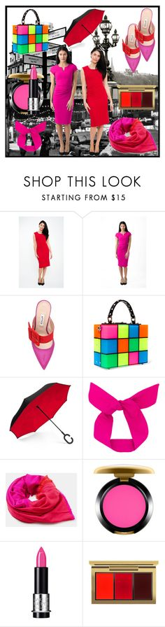 """""""I will paint this reality with my colors"""" by eveofdestruction88 ❤ liked on Polyvore featuring Attico, Dolce&Gabbana, ShedRain, MAC Cosmetics, MAKE UP FOR EVER, Pink, red, PinkDress and reddress"""
