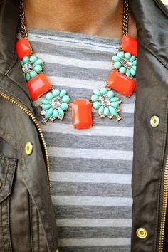 statement necklace - more → http://pattyfashiondegreesblog.blogspot.com/2012/02/statement-necklace.html