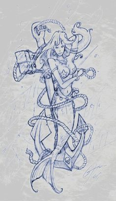 mermaid with anchor tattoos | Mermaid Tattoo Sketch 2 by ~TheMacRat on deviantART