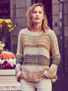 Free People Awash in Stripes Pullover at Free People Clothing Boutique Girls Sweaters, Sweaters For Women, Crochet Fashion, Sweater Weather, Crochet Clothes, Knitwear, Knitting Patterns, Knit Crochet, Free People