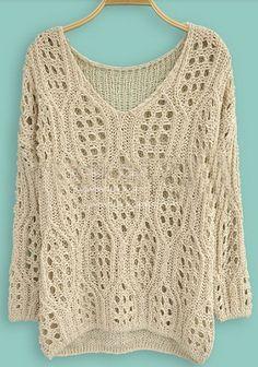 Beige Long Sleeve Hollow Batwing Pullovers Sweater - Sheinside.com