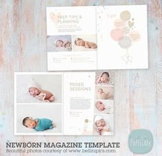 22 Page Newborn Photography Magazine Template PG016