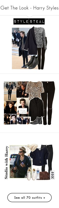 """""""Get The Look - Harry Styles"""" by fervorthemortalone ❤ liked on Polyvore featuring GetTheLook, harrystyles, Topshop, H&M, OneDirection, 1d, harry styles one direction 1d, Payne, Versace and Elizabeth and James"""