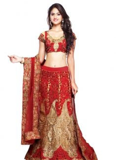 Cream designer wear Indian Punjabi art silk bridal ghagra choli