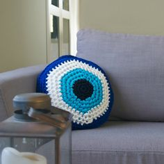 Crocheted Evil Eye Pouf Blue Round Floor Pillow by Soulmadehome