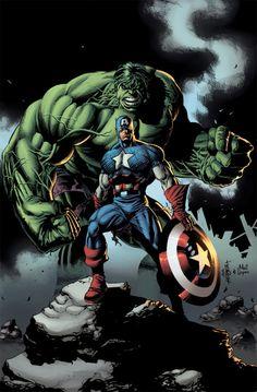 The Hulk and Captain America by Jackson Herbert