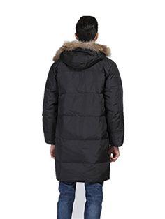 Newdeve Men's Winter Faux Fur Hodded Black Down Jacket
