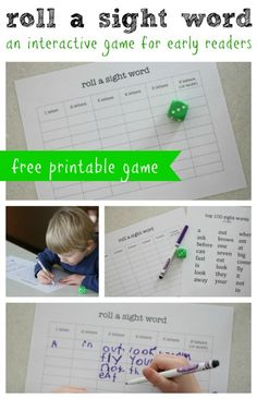Roll a Sight Word- An Interactive Game for Early Readers
